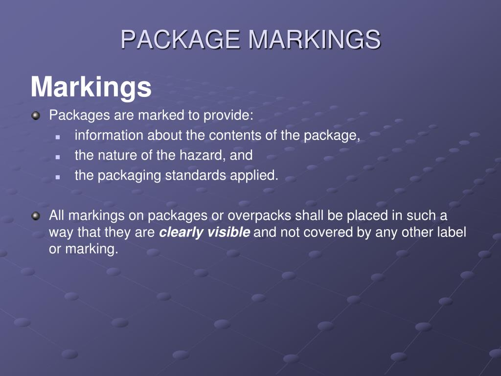 PACKAGE MARKINGS