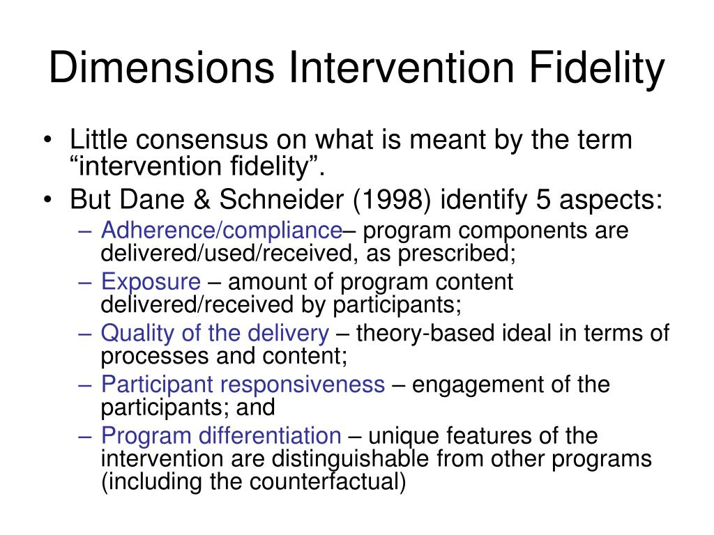 Dimensions Intervention Fidelity