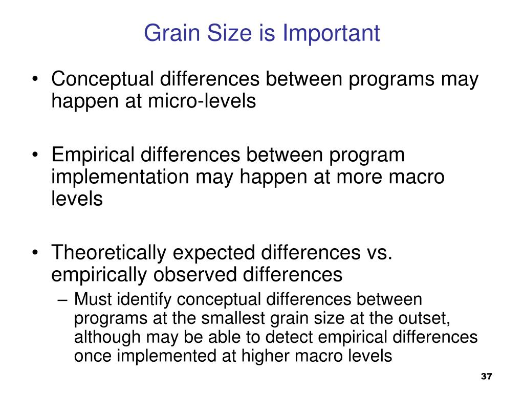 Conceptual differences between programs may happen at micro-levels