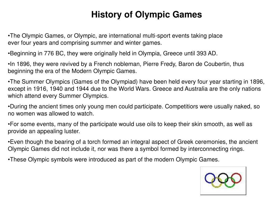 History of Olympic Games