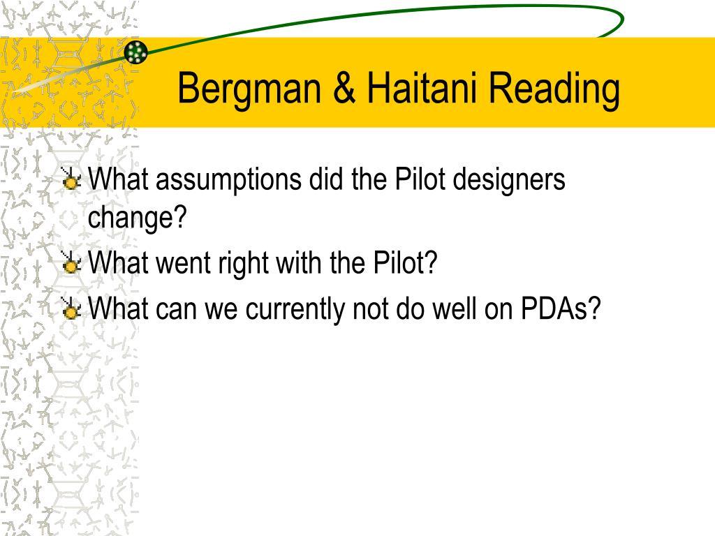 Bergman & Haitani Reading