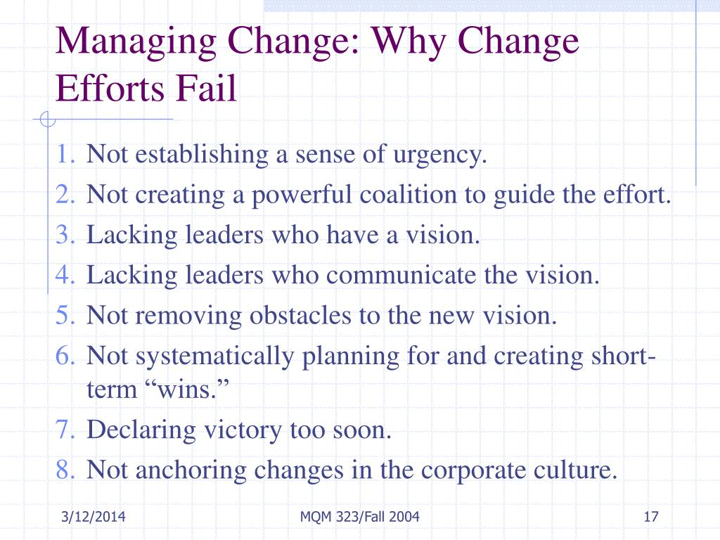 Managing Change: Why Change Efforts Fail
