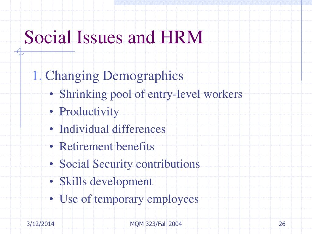 Social Issues and HRM