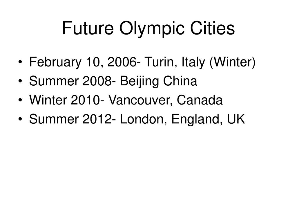 Future Olympic Cities