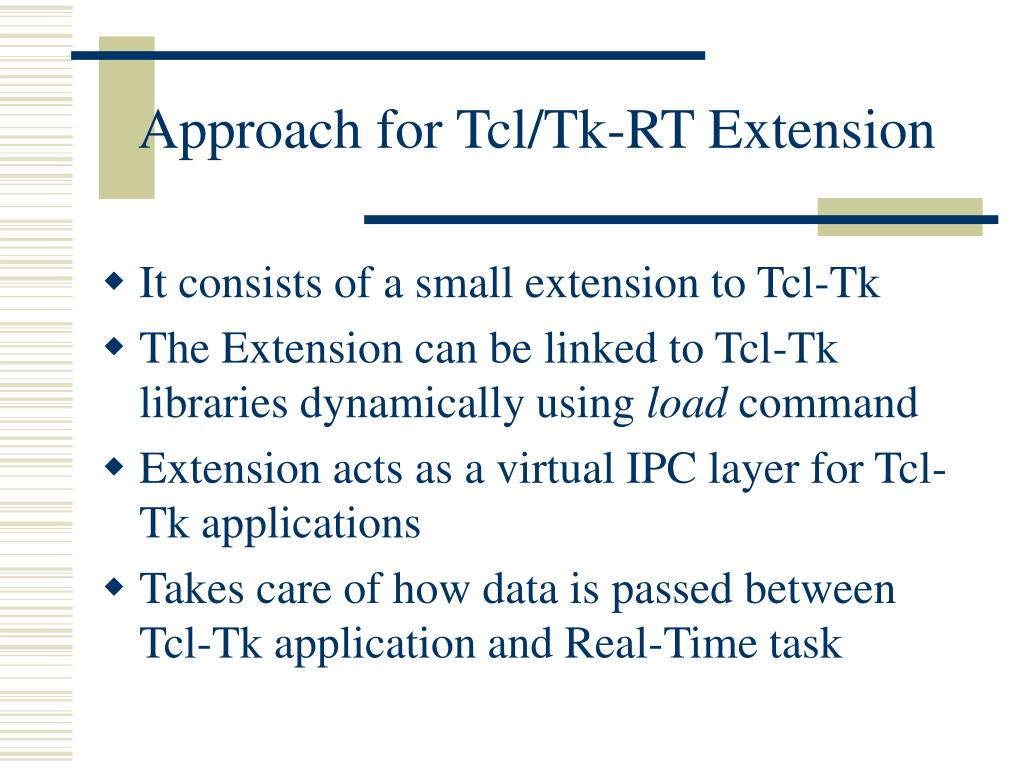 Approach for Tcl/Tk-RT Extension
