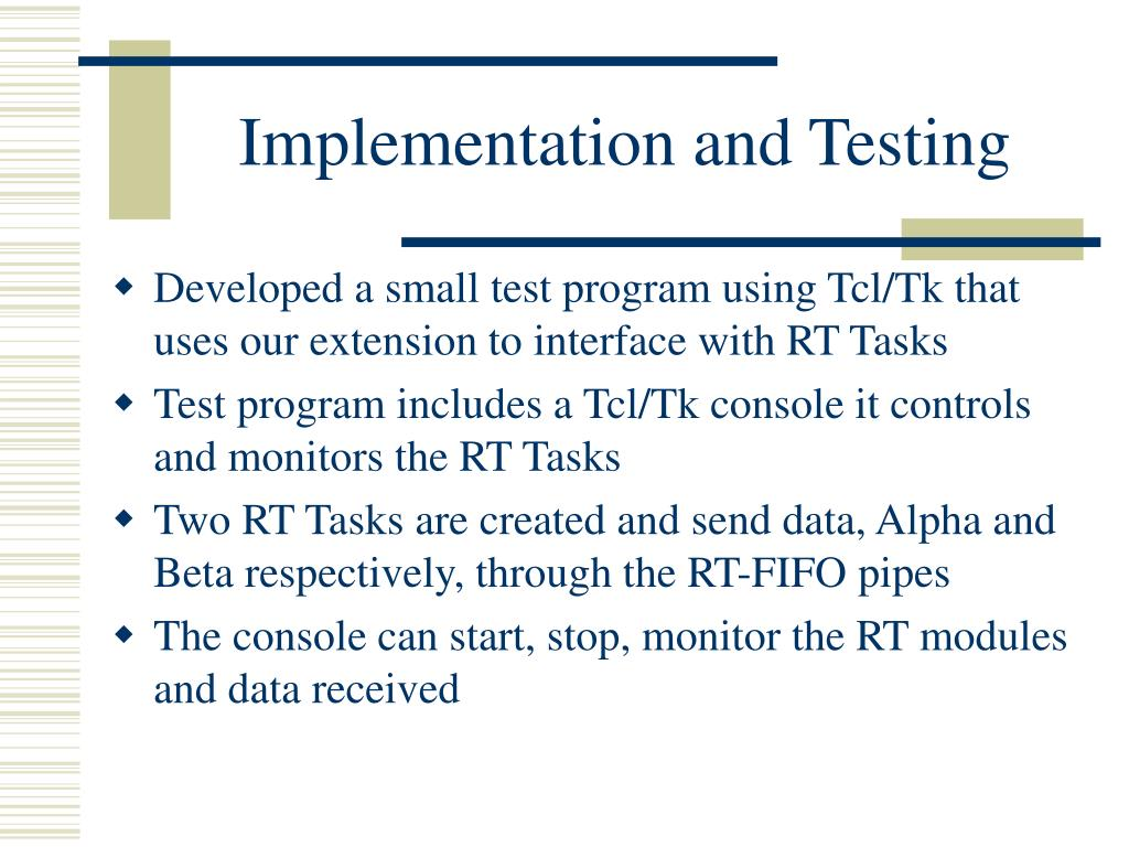 Implementation and Testing