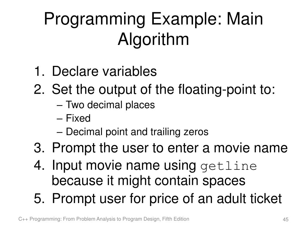 how to write an algorithm in c++