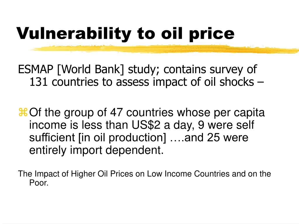 Vulnerability to oil price