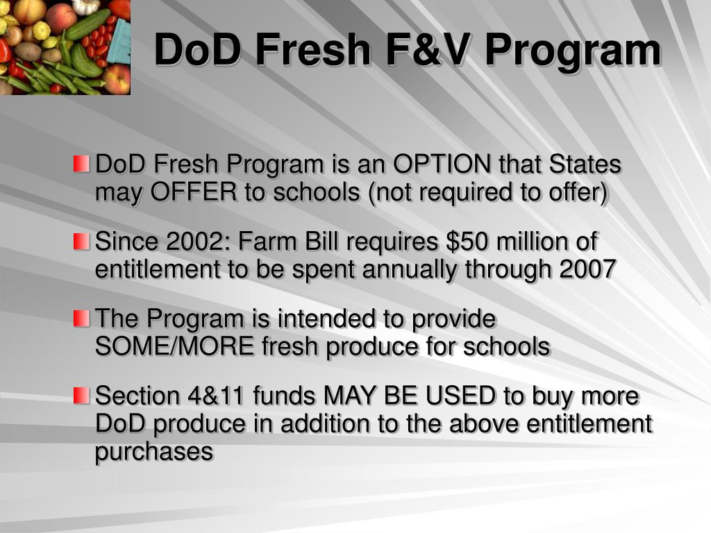 DoD Fresh F&V Program