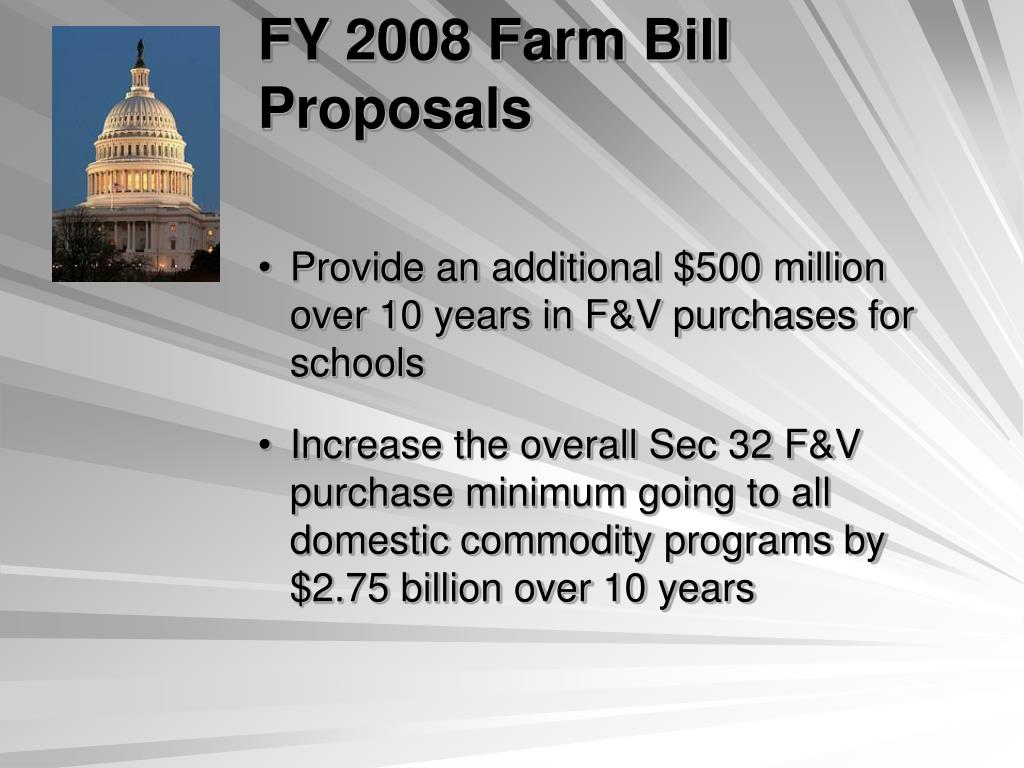 FY 2008 Farm Bill Proposals