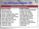 sy 2008 foods available cp