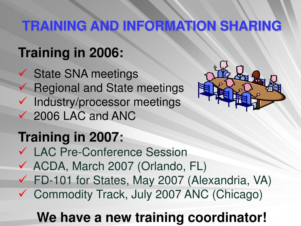 TRAINING AND INFORMATION SHARING