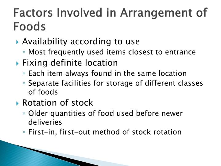 Factors Involved in Arrangement of Foods
