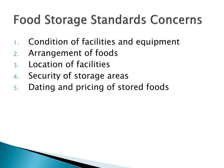 Food storage standards concerns