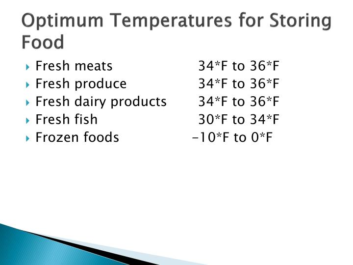 Optimum Temperatures for Storing Food