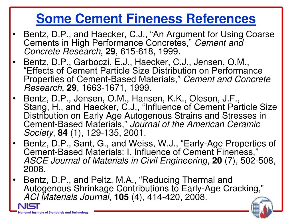 Some Cement Fineness References