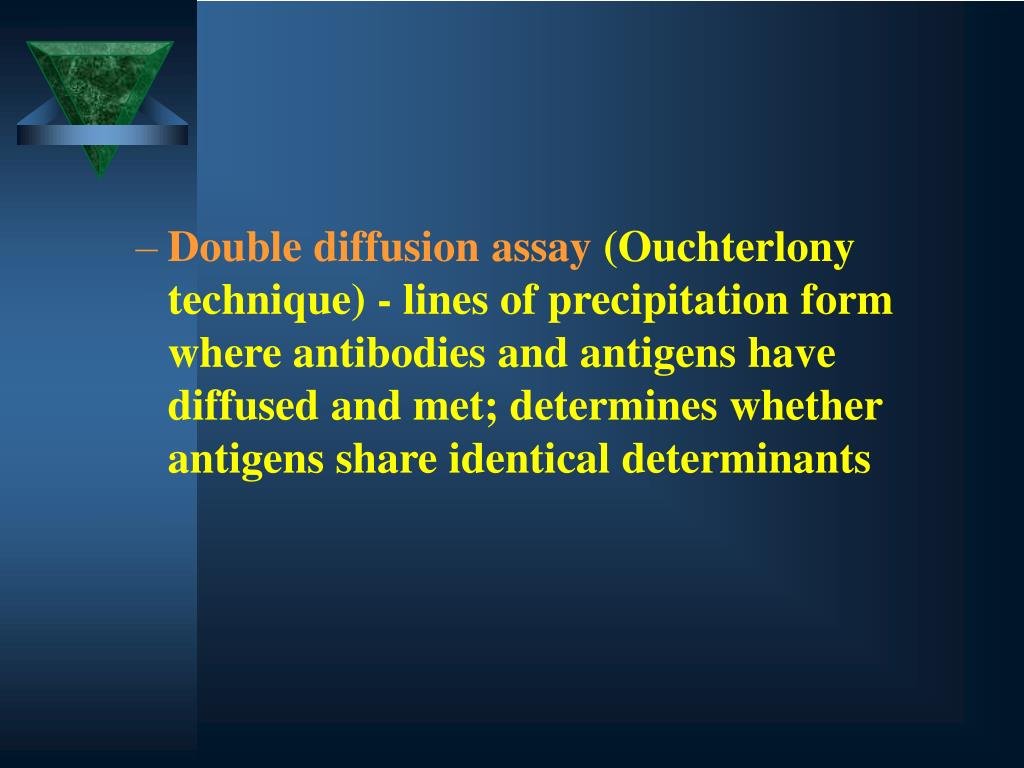 Double diffusion assay