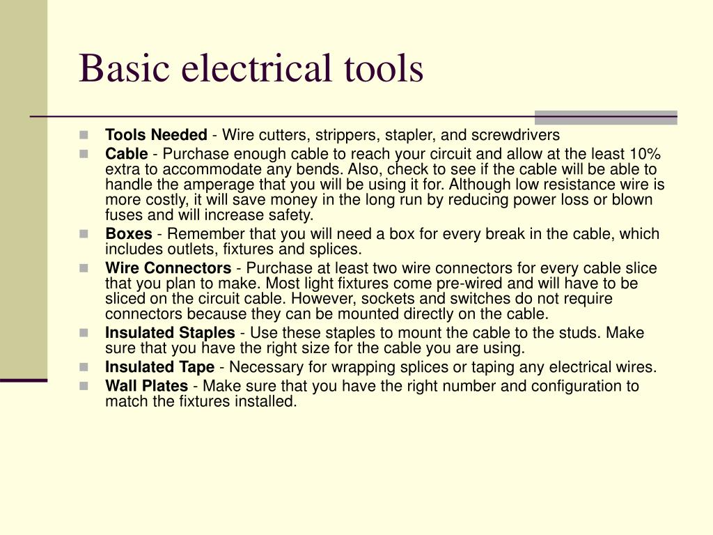 Basic electrical tools