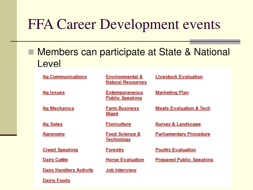 FFA Career Development events
