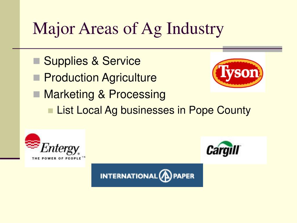 Major Areas of Ag Industry