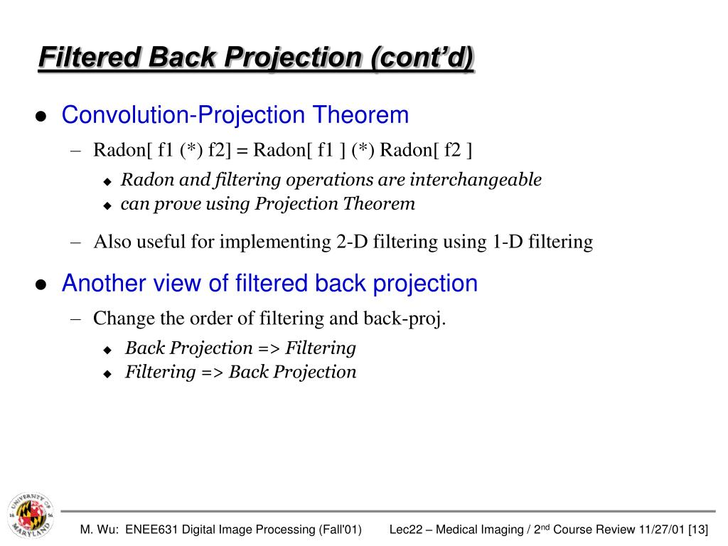 Filtered Back Projection (cont'd)