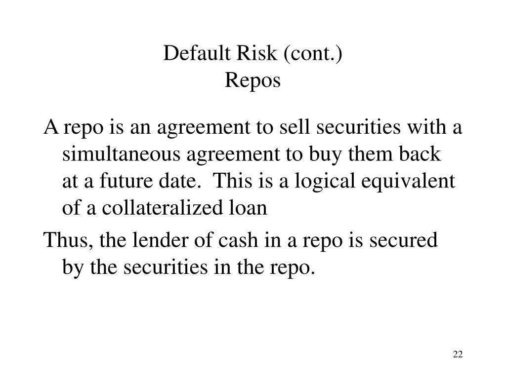 Default Risk (cont.)