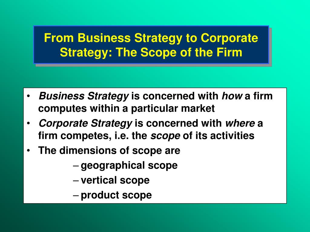 the scope of the e business Economies of scope are essential for any large business, and a firm can go about achieving such scope in a variety of ways first, and most common, is the idea that this operational efficiency is .