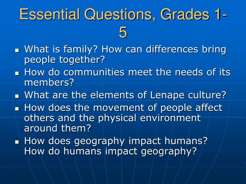 Essential Questions, Grades 1-5