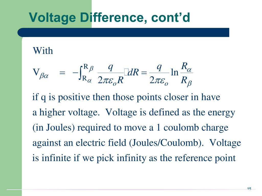 Voltage Difference, cont'd