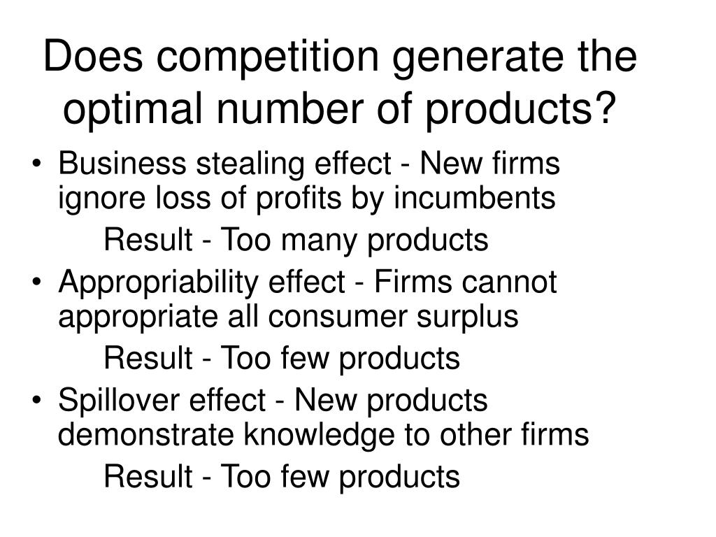 Does competition generate the optimal number of products?