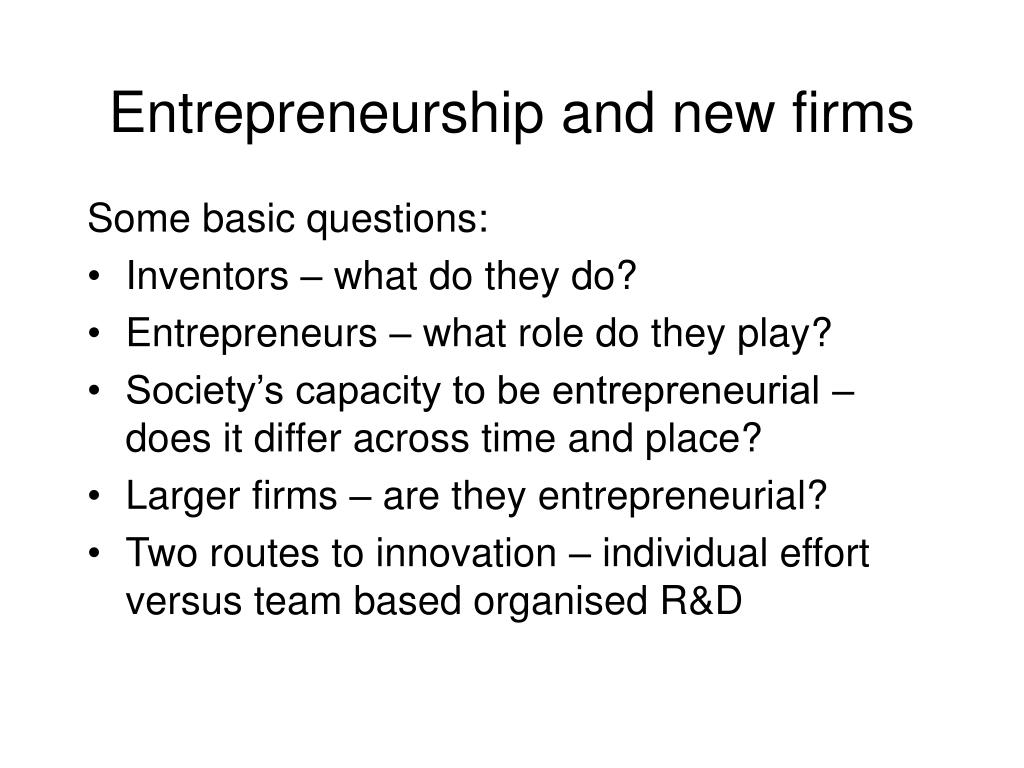 Entrepreneurship and new firms
