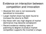 evidence on interaction between competition and innovation
