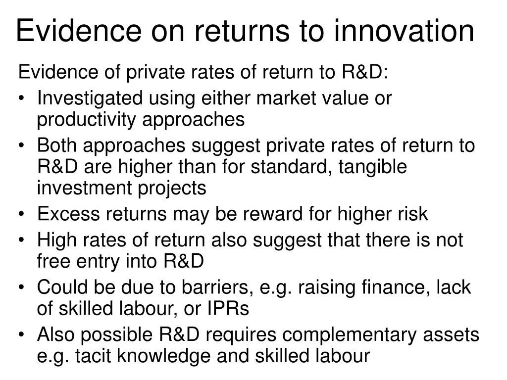 Evidence on returns to innovation