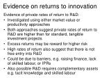 evidence on returns to innovation