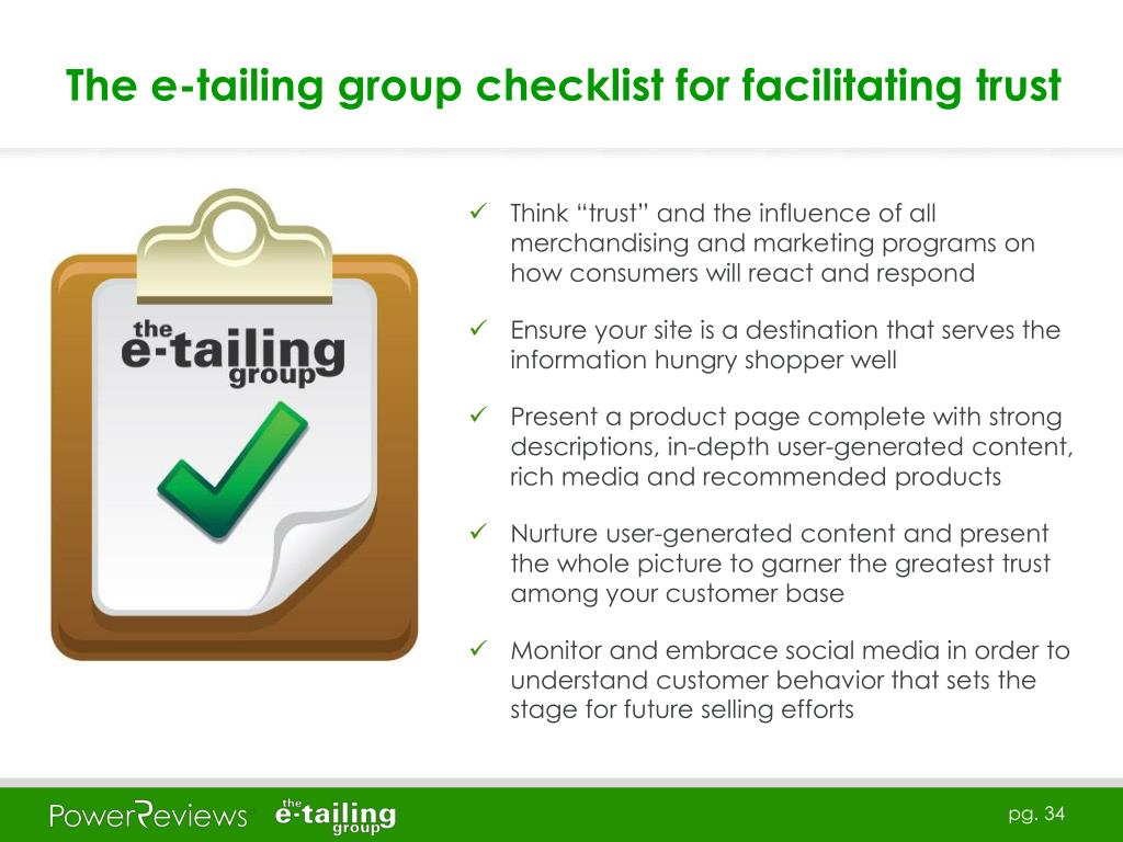 The e-tailing group checklist for facilitating trust
