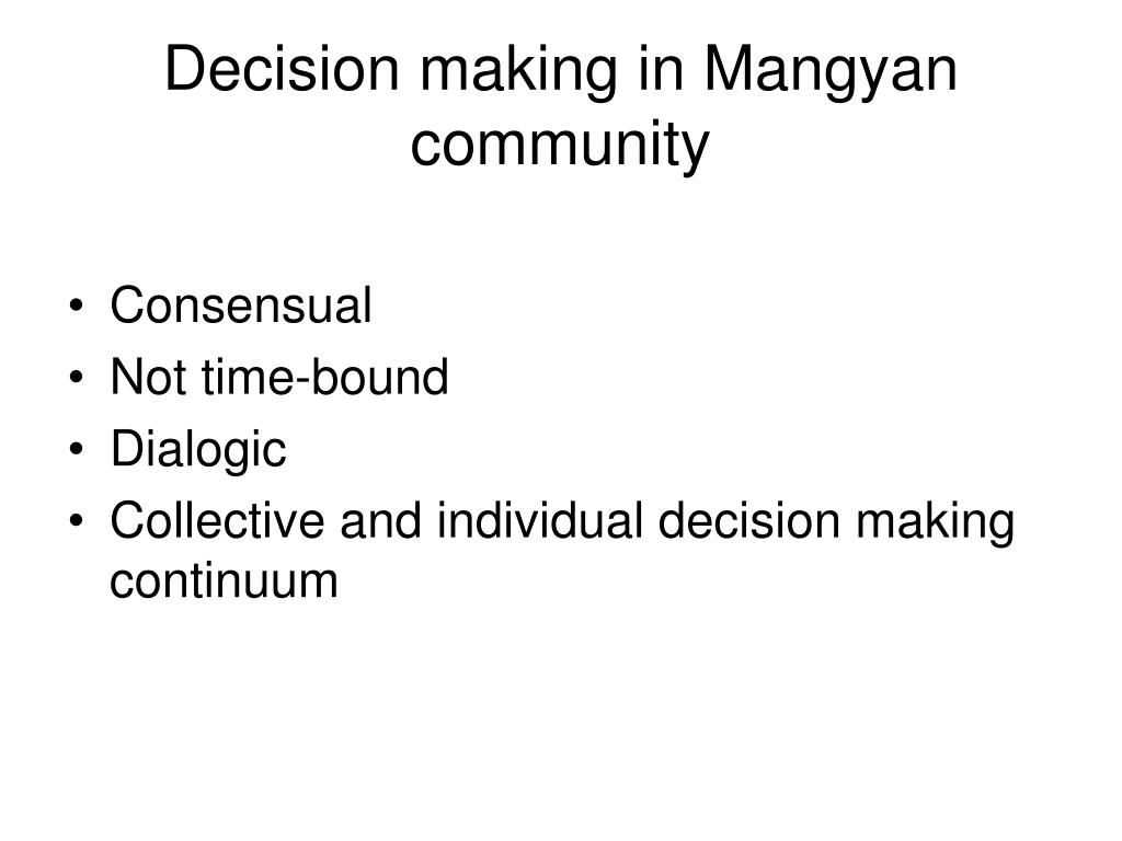 Decision making in Mangyan community