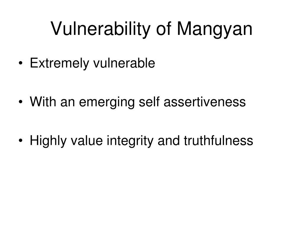 Vulnerability of Mangyan