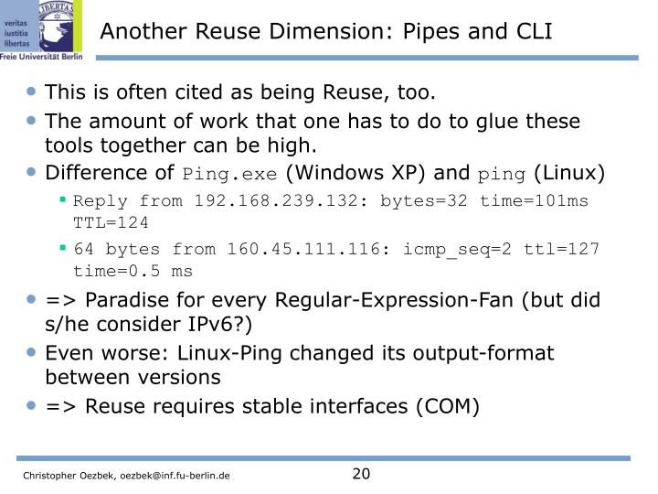 Another Reuse Dimension: Pipes and CLI