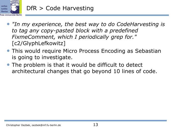 DfR > Code Harvesting