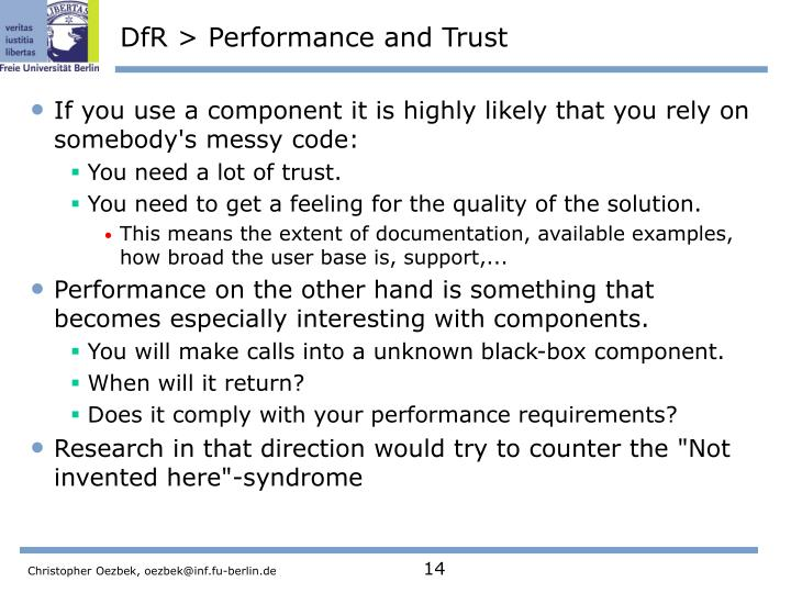 DfR > Performance and Trust