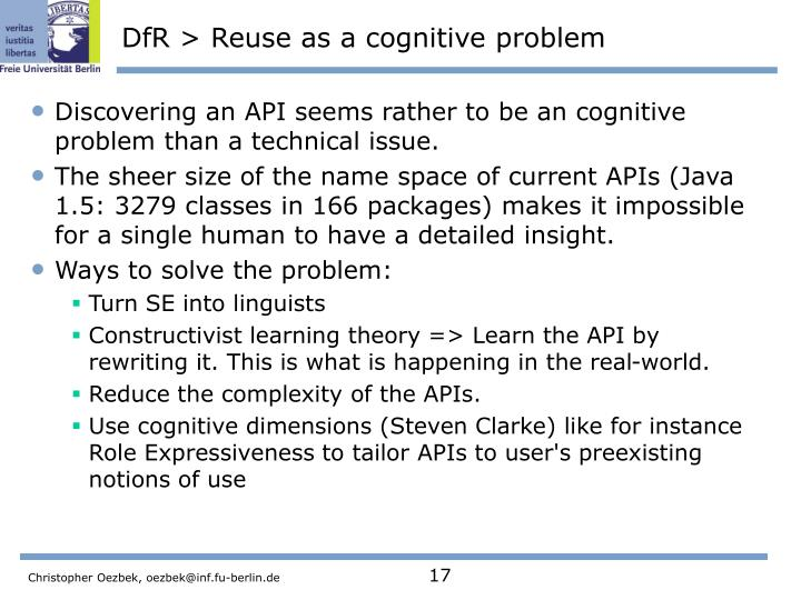 DfR > Reuse as a cognitive problem