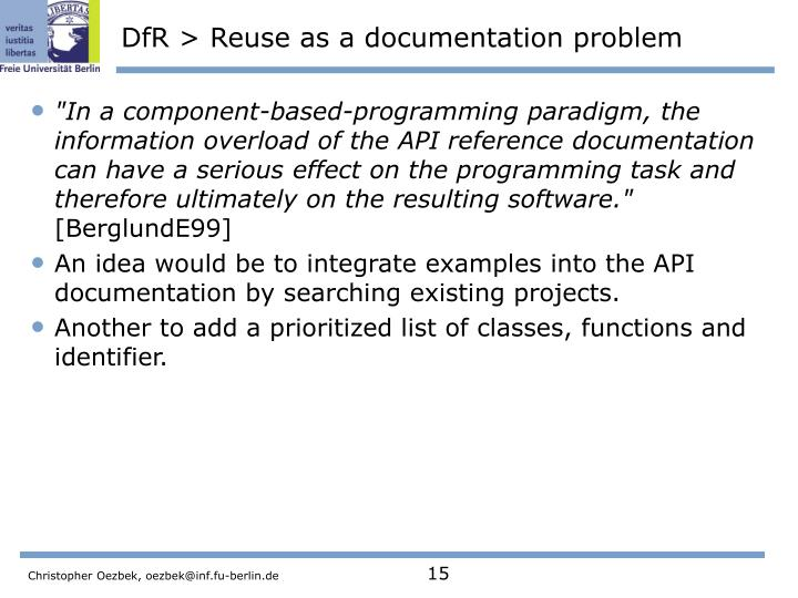DfR > Reuse as a documentation problem