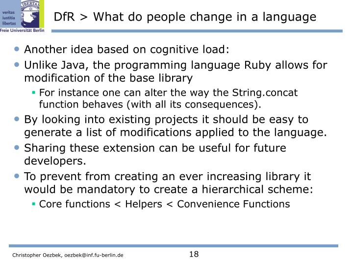 DfR > What do people change in a language