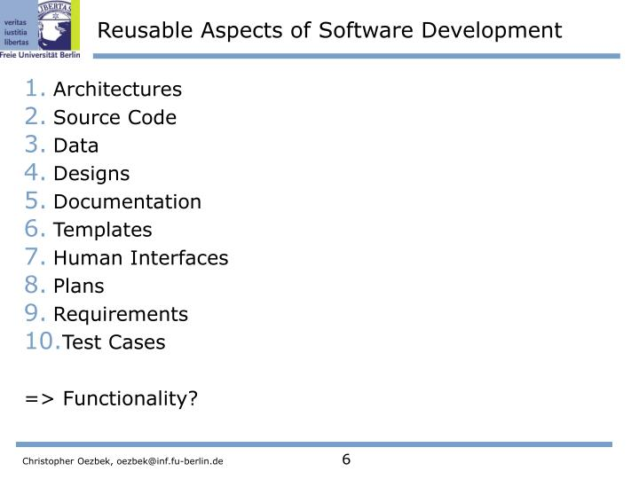 Reusable Aspects of Software Development
