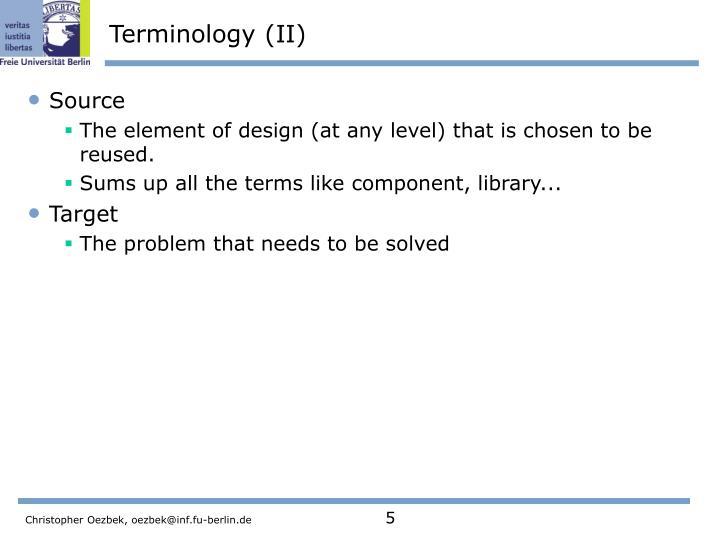 Terminology (II)