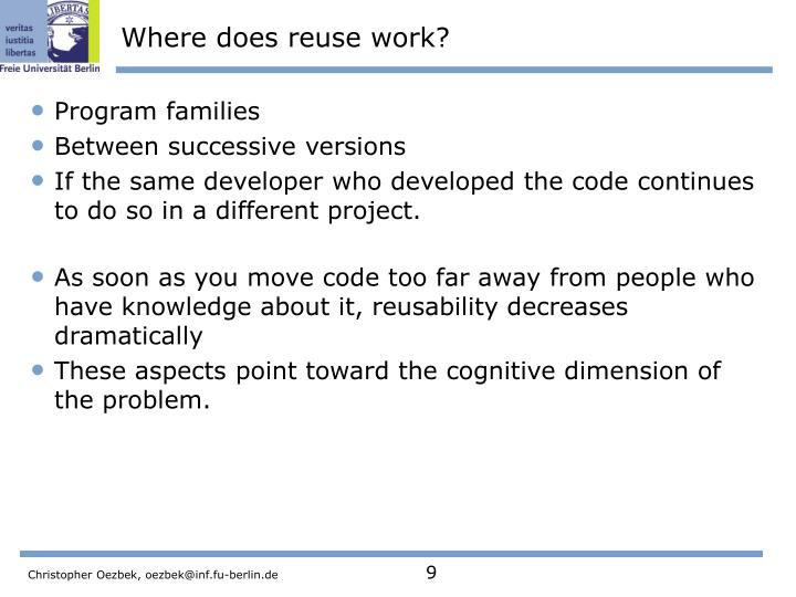Where does reuse work?