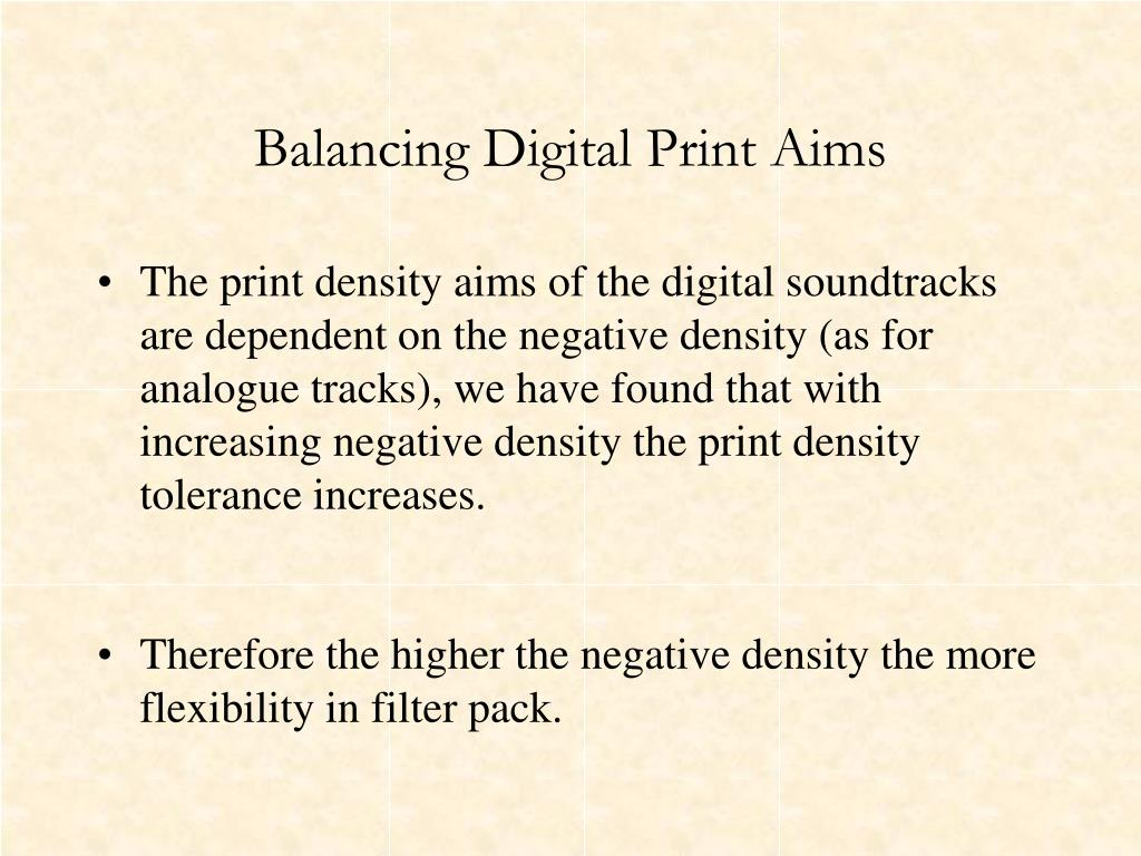 Balancing Digital Print Aims