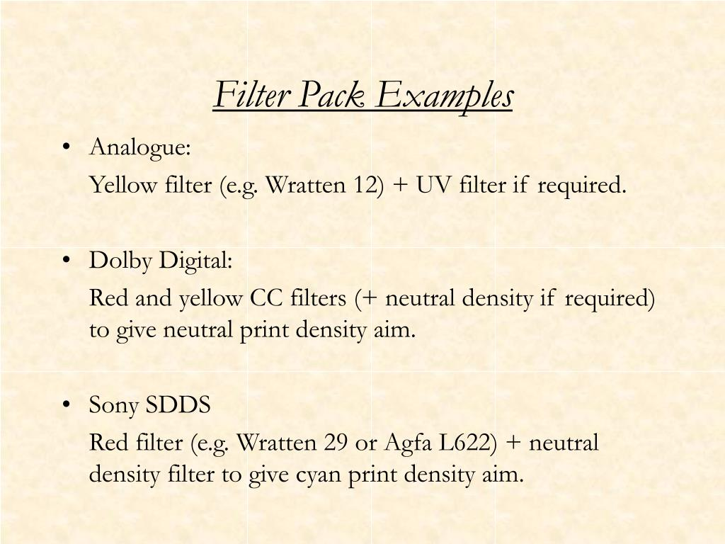 Filter Pack Examples
