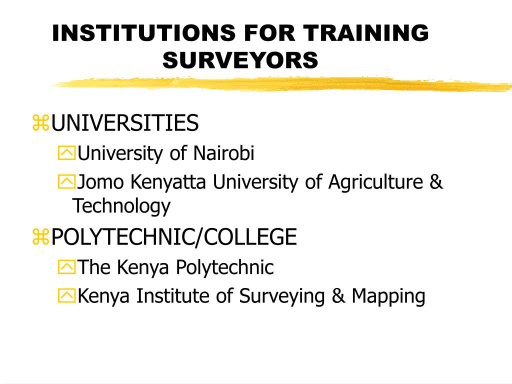 INSTITUTIONS FOR TRAINING SURVEYORS