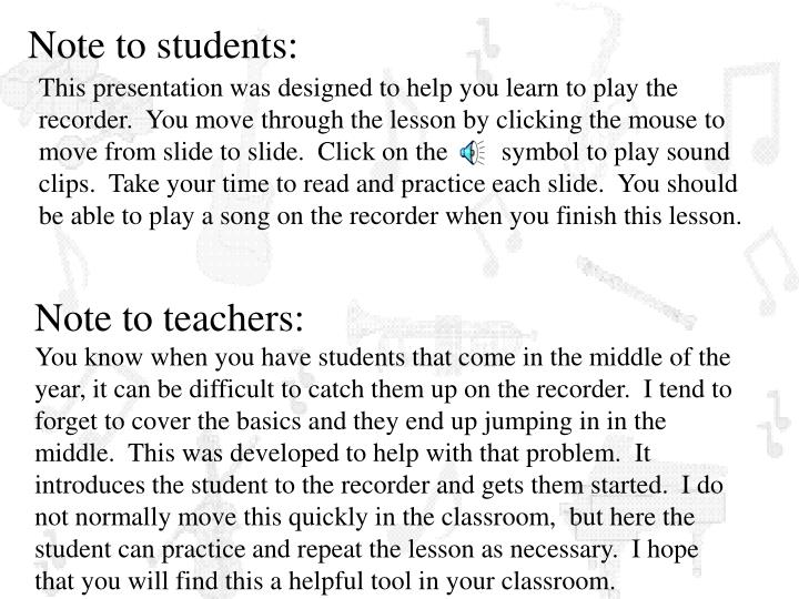 Note to teachers